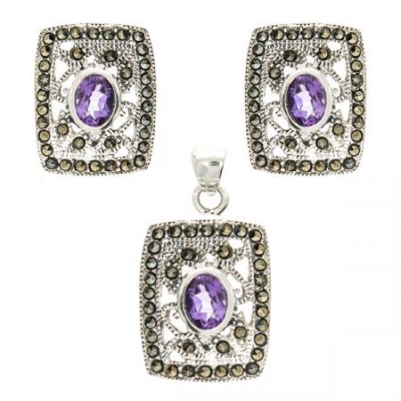 Set bijuterii argint format din cercei pe lob și pandantiv cu cristale de marcasită și ametist fațetat [0]