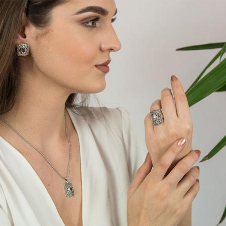 Set bijuterii argint format din cercei pe lob și pandantiv cu cristale de marcasită și ametist fațetat [1]
