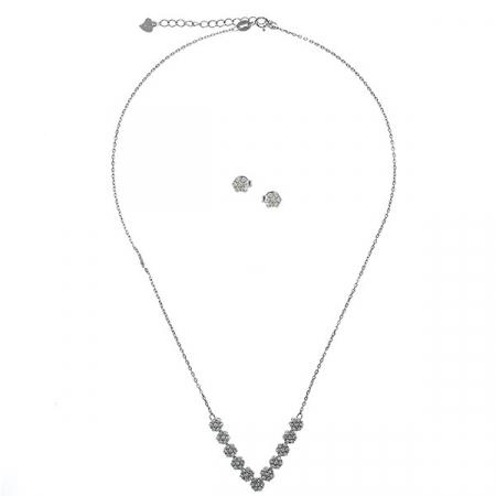 Set bijuterii argint pentru mirese cu cercei și colier cu zirconii [2]