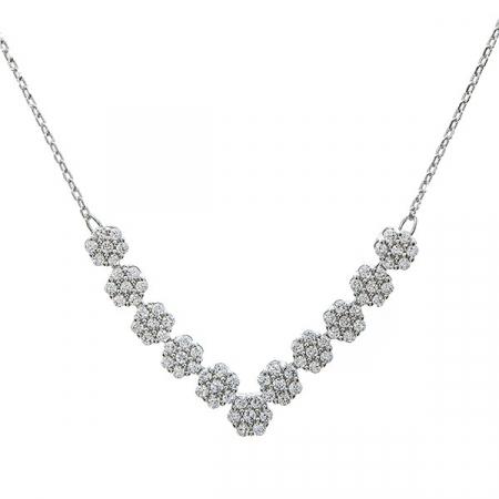 Set bijuterii argint pentru mirese cu cercei și colier cu zirconii [0]
