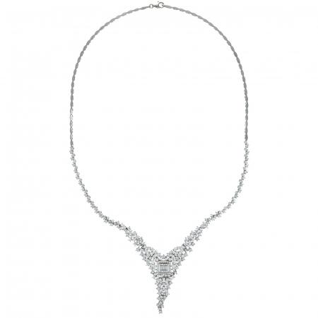 Set elegant din argint cu cercei și colier decorat cu zirconii [2]