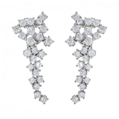 Set elegant din argint cu cercei și colier decorat cu zirconii [4]