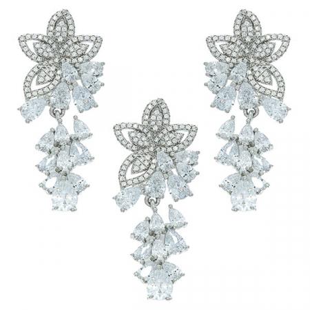 Set bijuterii argint cu motive florale format din cercei și pandantiv cu cristale de zirconiu [0]