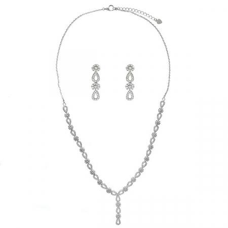 Set bijuterii argint cu formă de lacrimă format din cercei și colier cu zirconii [0]