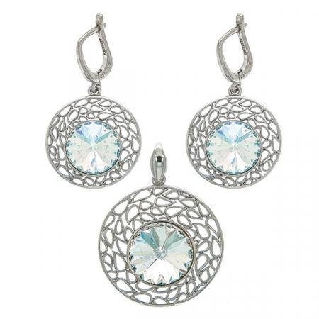 Set bijuterii argint cercei și pandantiv cu zirconii [0]