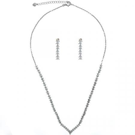 Set elegant din argint cu colier și cercei cu cristale de zirconiu [0]