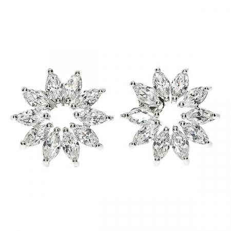 Set bijuterii pentru mireasă cu cercei și colier cu motive florale și cristale [3]