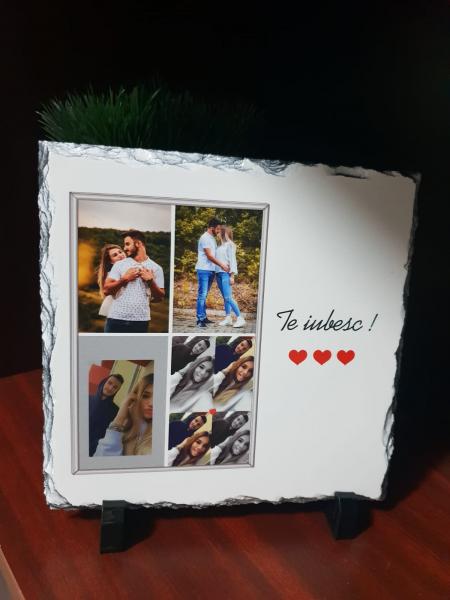 Cadou personalizat Placheta de ardezie cu 4 poze și mesaj [0]