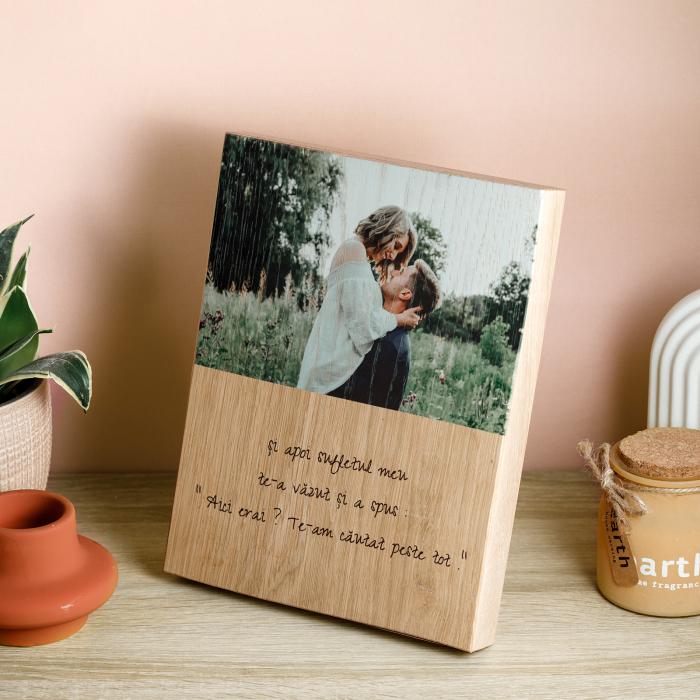 Tablou din lemn personalizat cu o poza si mesaj [1]