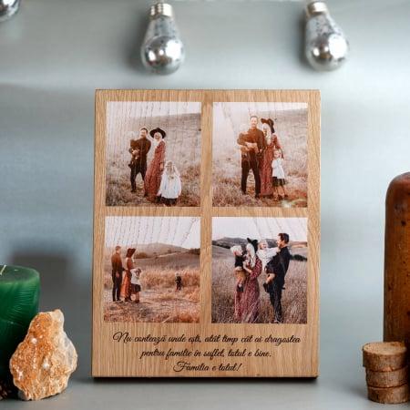 Placheta din lemn personalizata cu 4 poze-Familia este totul
