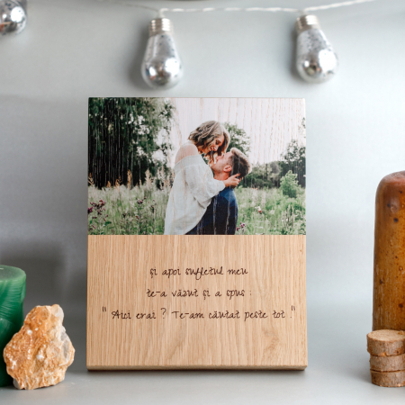 Tablou din lemn personalizat cu o poza si mesaj [0]