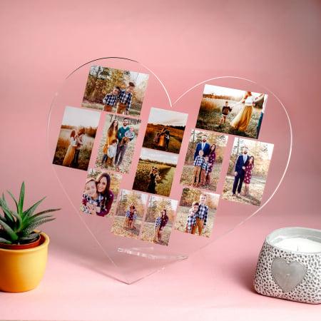 Plachetă personalizată inimă cu 11 poze