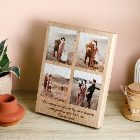 Tablou din lemn personalizata cu 4 poze-Familia este totul [1]