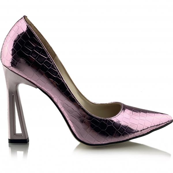 Pantofi Glory  Croco Lila 1