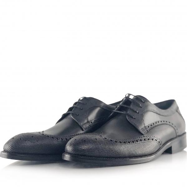 Pantofi eleganți din piele naturală Oxford Negri 1