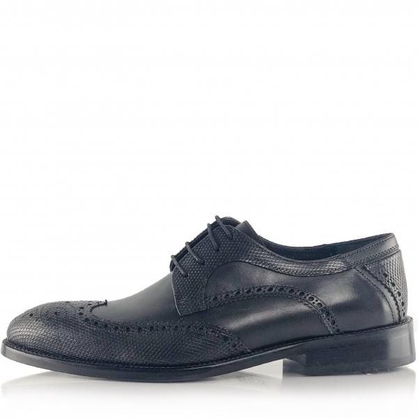 Pantofi eleganți din piele naturală Oxford Negri 2