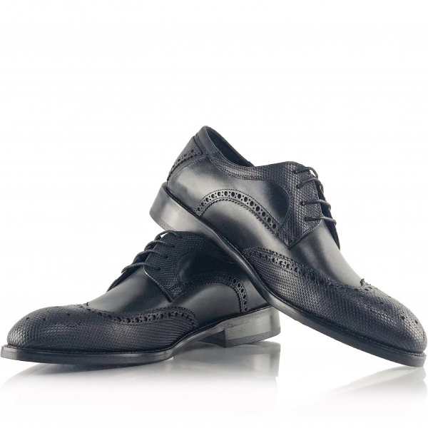 Pantofi eleganți din piele naturală Oxford Negri 0