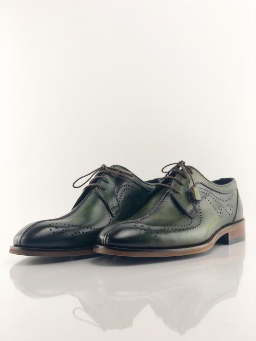 Pantofi eleganți din piele naturală DAVIS - verde închis 2