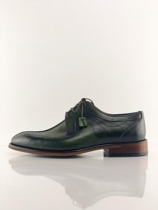 Pantofi eleganți din piele naturală DAVIS - verde închis 3