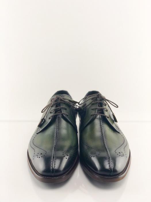 Pantofi eleganți din piele naturală DAVIS - verde închis 5