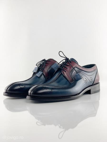 Pantofi eleganți din piele naturală DAVIS - bordeaux 4