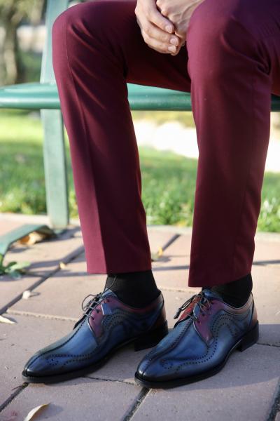 Pantofi eleganți din piele naturală DAVIS - bordeaux 0