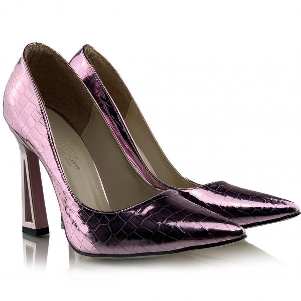 Pantofi Glory  Croco Lila 0