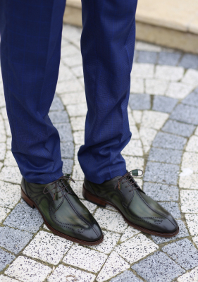 Pantofi eleganți din piele naturală DAVIS - verde închis0