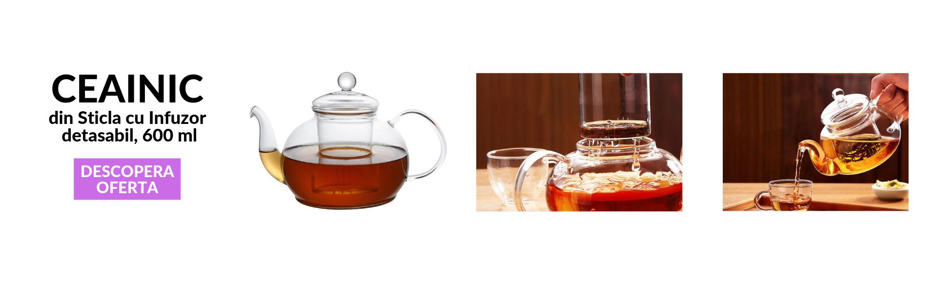 Ceainic din sticla 600 ml