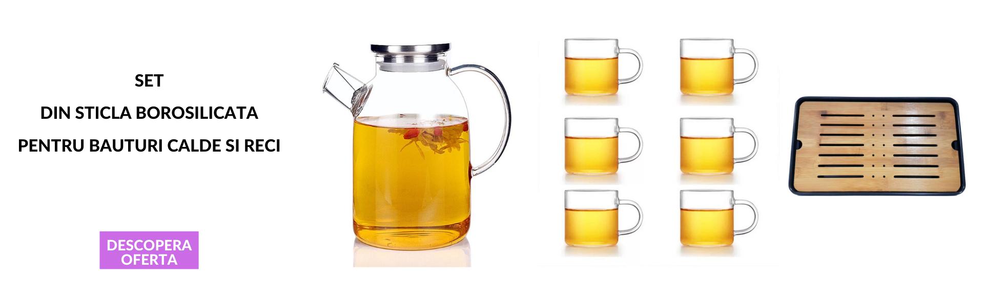 Set Carafa sticla Borosilicata