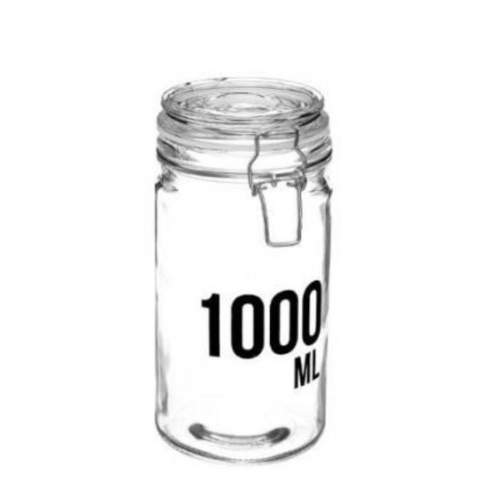 Borcan 1000 ML pentru depozitare cu capac ermetic, cleme metalice 0