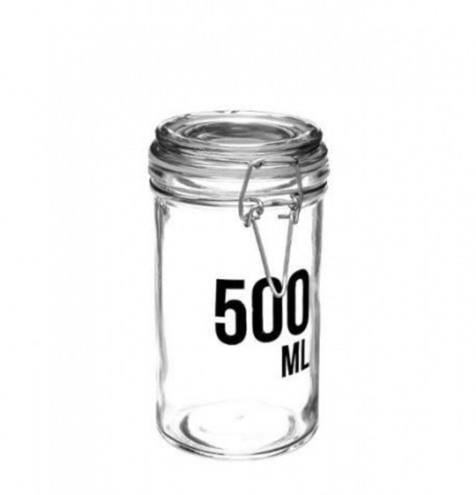 Borcan 500 ML pentru depozitare cu capac ermetic, cleme metalice 0
