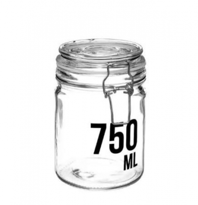 Borcan 750 ML pentru depozitare cu capac ermetic, cleme metalice