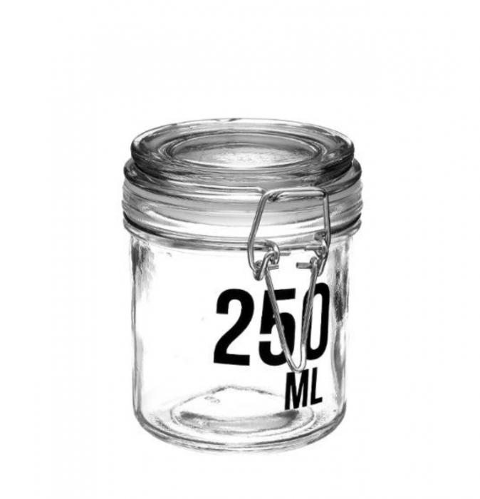 Borcan 250 ML pentru depozitare cu capac ermetic,cleme metalice 0