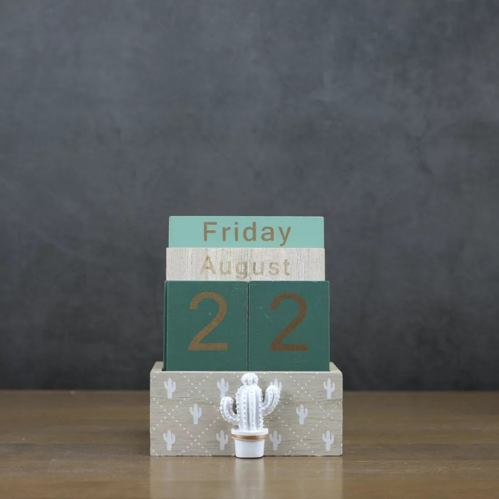 Calendar din Lemn, 11 x 6 x 14 cm, Cactus 4