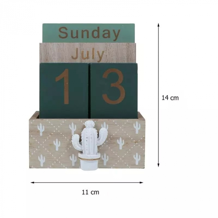 Calendar din Lemn, 11 x 6 x 14 cm, Cactus 3
