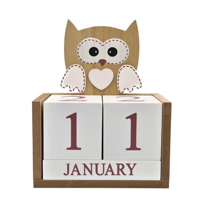 Calendar BUFNITA din Lemn, 14 x 7x 14 cm 0