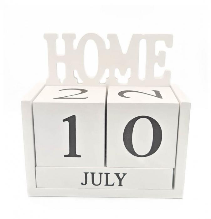 Calendar HOME din Lemn, 14 x 7x 14 cm, Alb 0