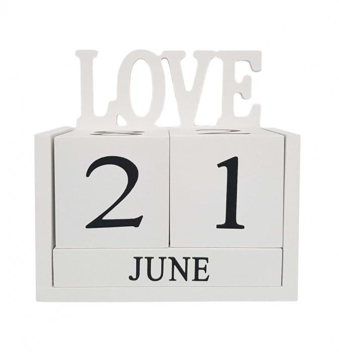 Calendar LOVE din Lemn, 14 x 7x 14 cm, Alb 0