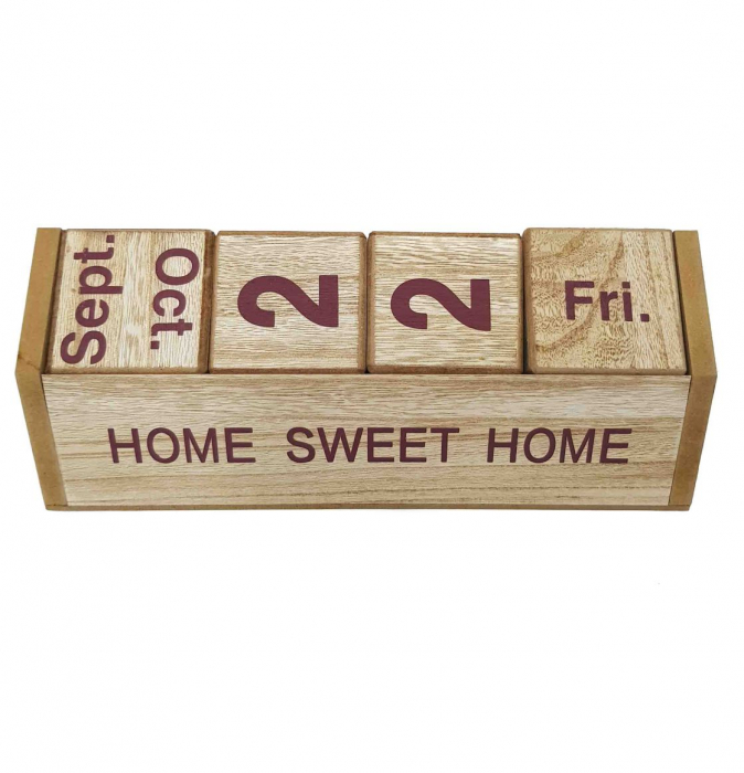 Calendar SWEET HOME cuburi din lemn, 26 x 8.5 x 10.5 CM 1