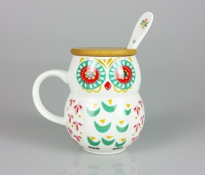 Cana Ceramica cu lingurita, Bufnita, capac Bambus, 300 ml 0