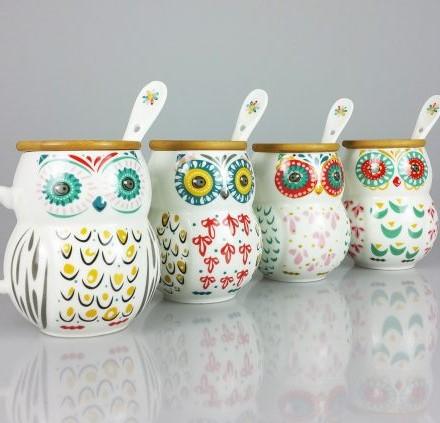Cana Ceramica cu lingurita, Bufnita, capac Bambus, 300 ml 1