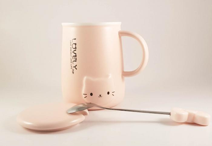 Cana ceramica cu lingurita si capac, LOVELY, 350 ml 1