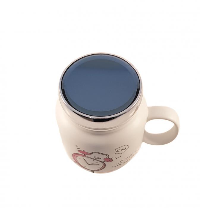Cana ceramica Clock, capac cu inchidere ermetica, 500 ml 1
