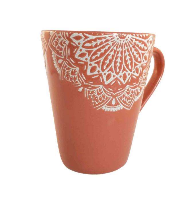Cana MANDALA, culoare Caramiziu, 300 ml, Ceramica 0