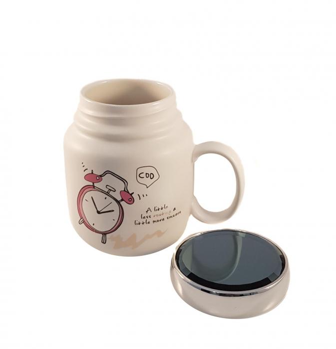Cana ceramica Clock, capac cu inchidere ermetica, 500 ml 2