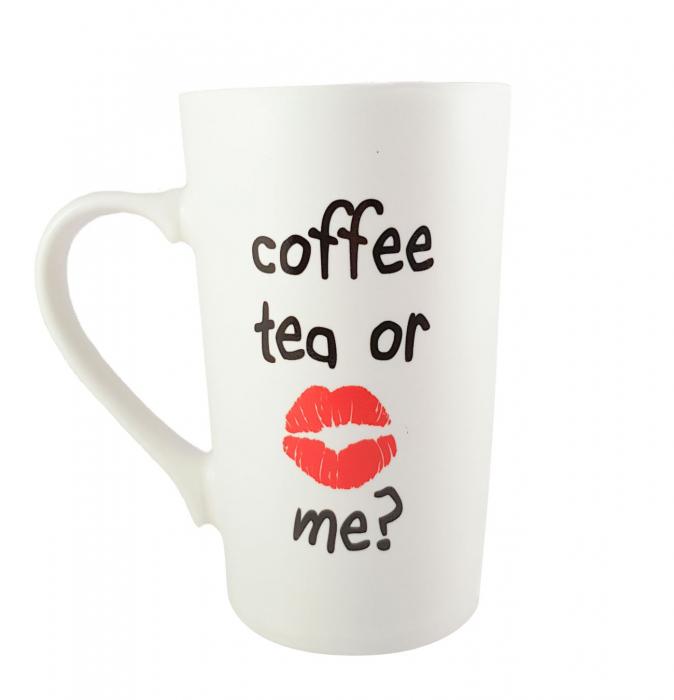 Cana ceramica COFFEE TEA ROSU 450ml 0