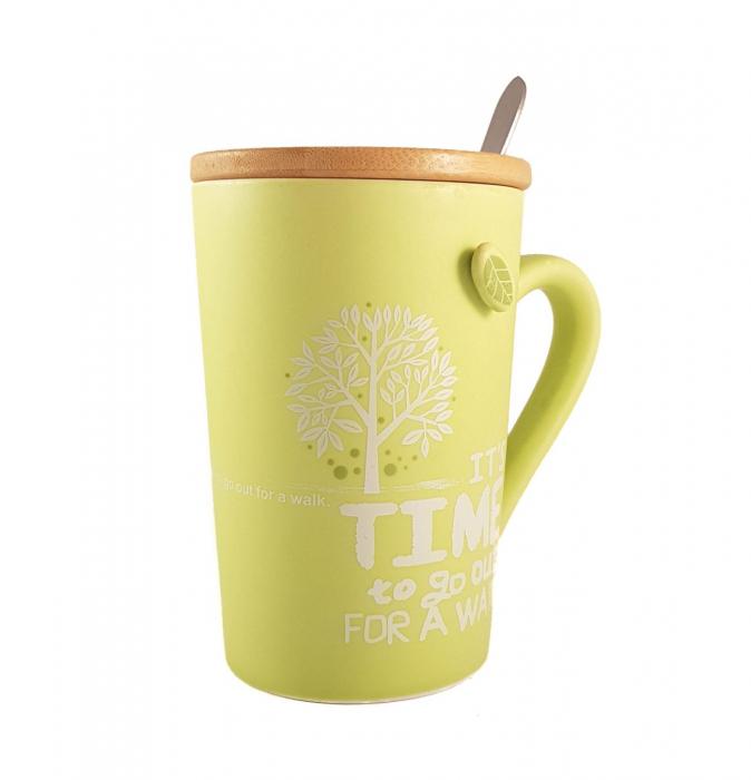 Cana ceramica GREEN, cu capac din bambus si lingurita 0