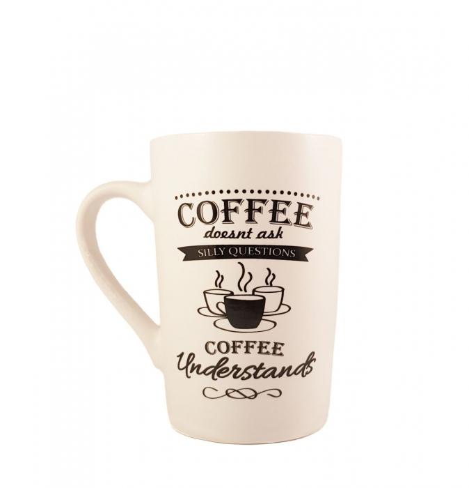 Cana ceramica COFFEE Understands, Alb cu negru, 340 ml 0