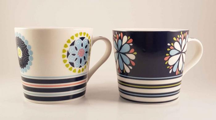 Cana ceramica COLOR LEAF BLUE, 380 ml 1